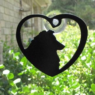 metal window art heart my collie