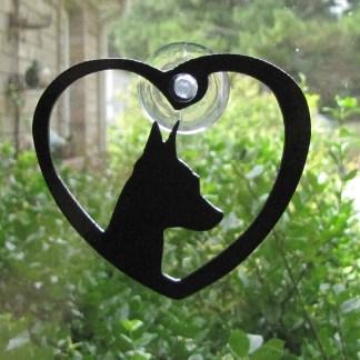 metal doberman pincher window art