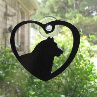 metal husky window art window ornament