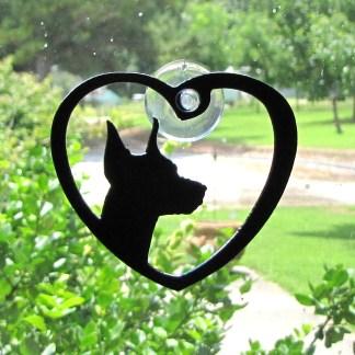 metal window art doberman pincher heart my doberman
