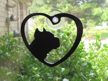 metal pit bull window art window ornament