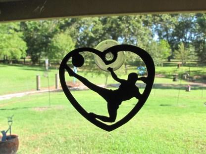 metal heart soccer window art window ornament