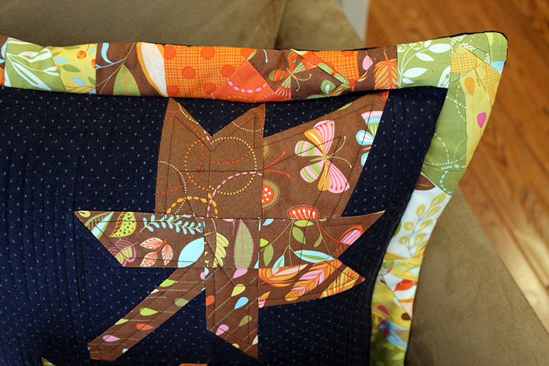 Leaf patchwork pillow