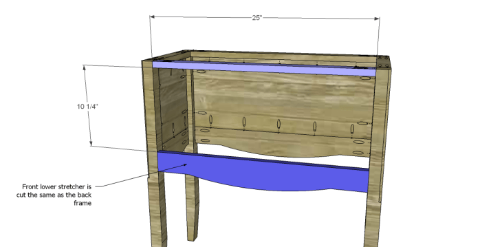 free plans to build a seventh ave inspired janikka table_Stretchers