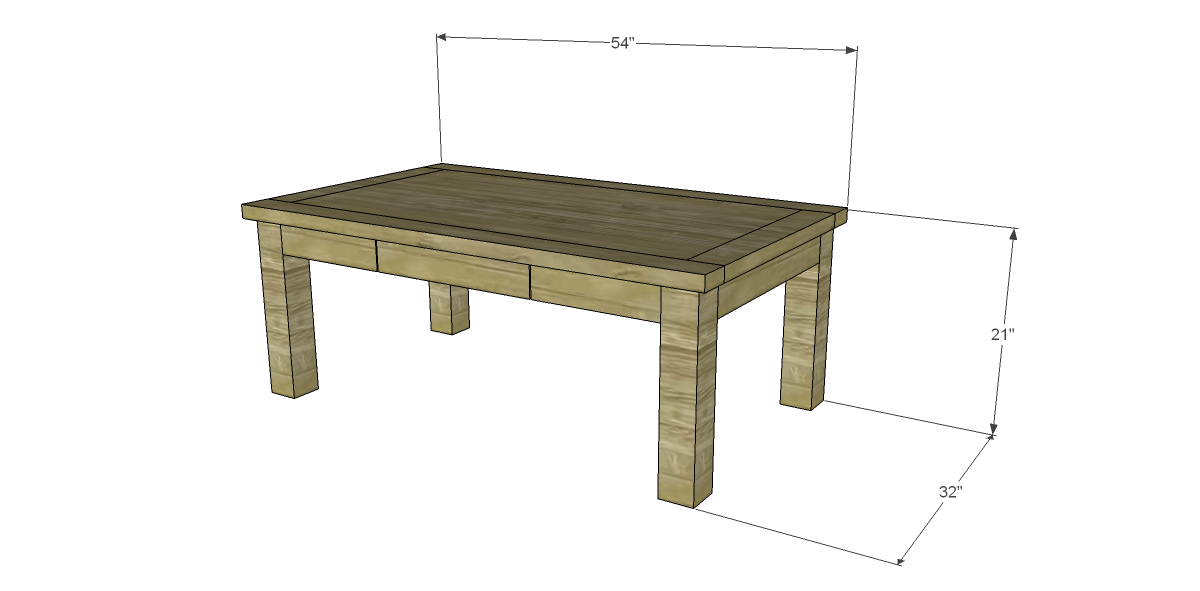 Free plans for a joss main inspired lodge coffee table for Farm table plans drawings