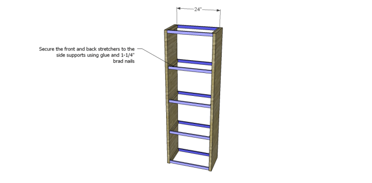 how to build a bookcase using an old door_Stretchers