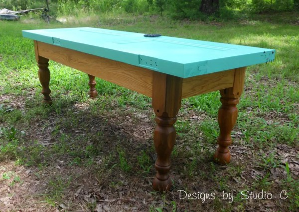 how to build a bench using an old door SANY2240