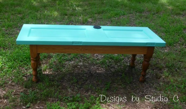how to build a bench using an old door SANY2241