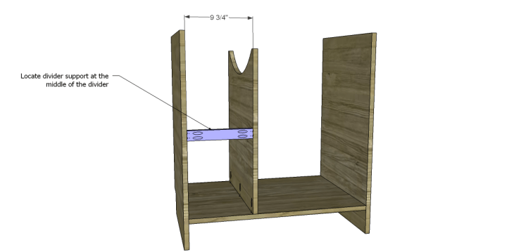 free DIY woodworking plans to build a custom bath vanity_Divider Support