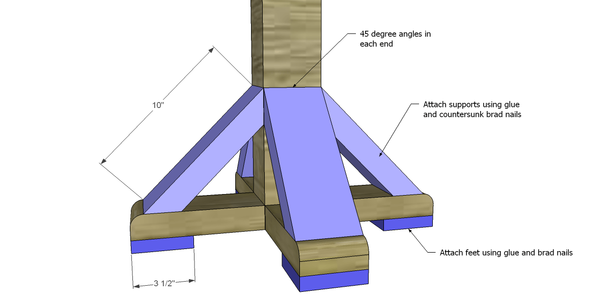 free DIY woodworking plans to build a coat rack post_Feet & Supports