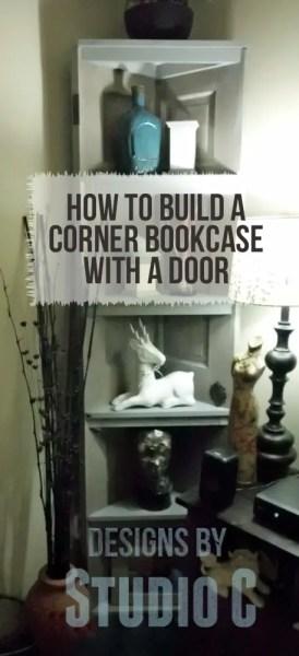 corner bookcase using an old door. Black Bedroom Furniture Sets. Home Design Ideas