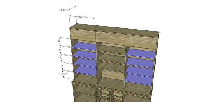 plans build large stately bookcase_Side Shelves