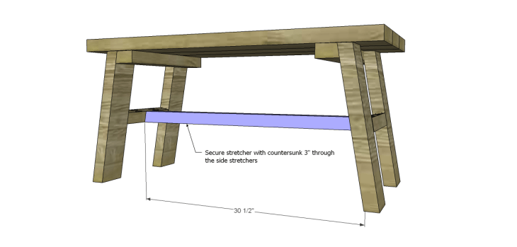 free furniture plans build rustic bench_Long Stretcher