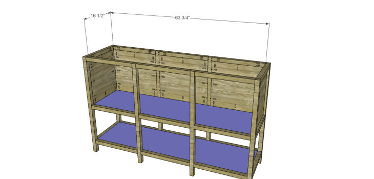 free furniture plans build sundown retreat sideboard_Bottom & Shelf