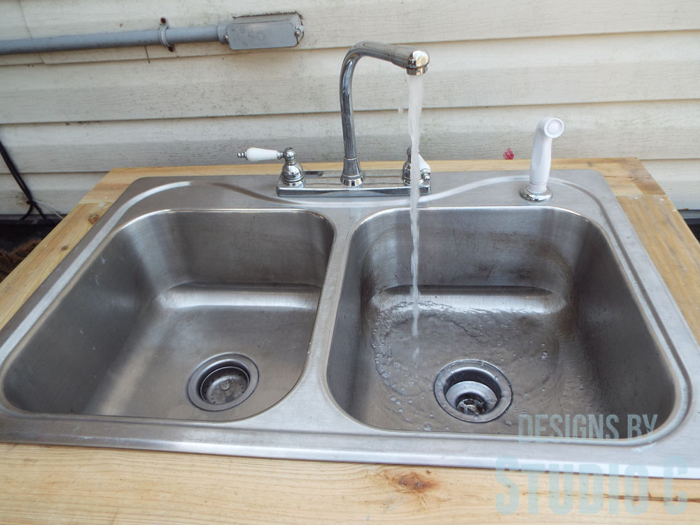 Build an outdoor sink part two connecting the water supply designs by studio c - Connect hose to sink ...
