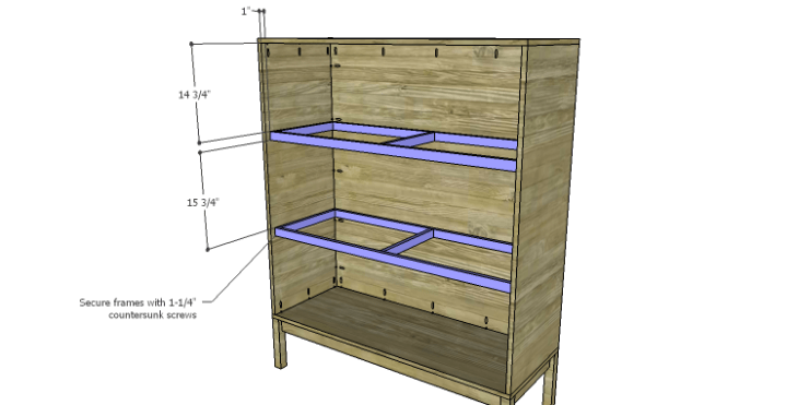 DIY Vintage Pantry Cabinet Plans-Shelf Frames 2