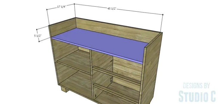 DIY Plans to Build a Brenley Media Console_Upper Shelf