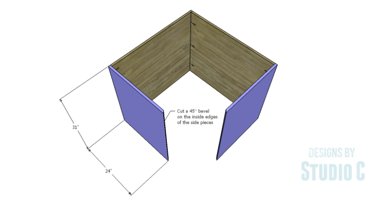 DIY Plans to Build a Diagonal Corner Base Kitchen Cabinet_Sides