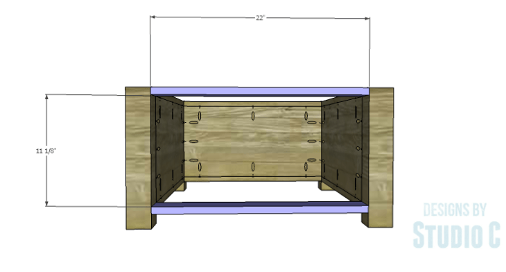 DIY Plans to Build Single Washer and Dryer Pedestals_Front Stretchers
