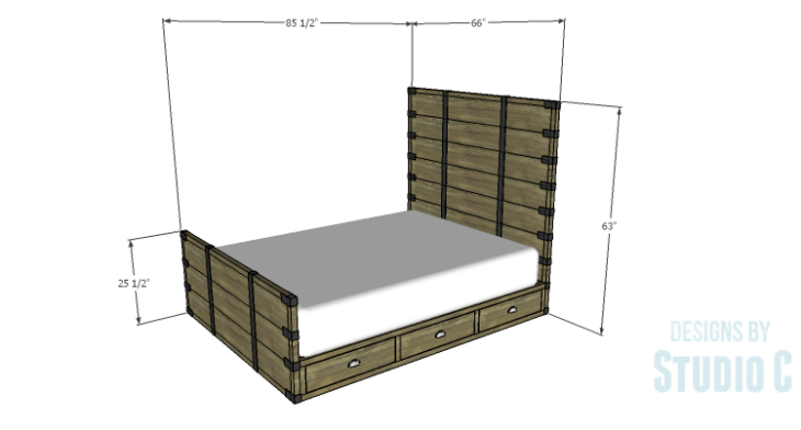 DIY Plans to Build a Rustic Metal Strap Queen Bed