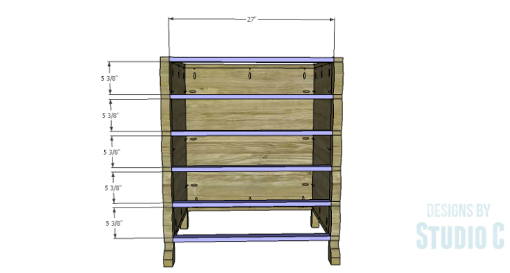 DIY Plans to Build a Scalloped Leg Dresser_Front Stretchers