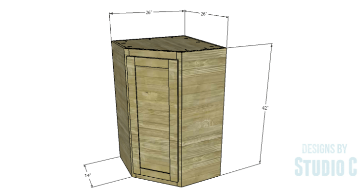 DIY Plans to Build a Tall Diagonal Face Upper Corner Cabinet