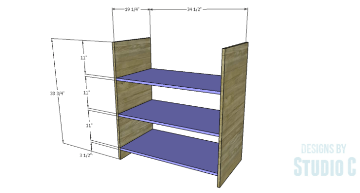 DIY Plans to Build a Hanson Media Console_Inner Shelves & Sides