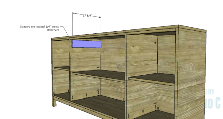 DIY Plans to Build a Long Paneled Sideboard_Drawer Spacers