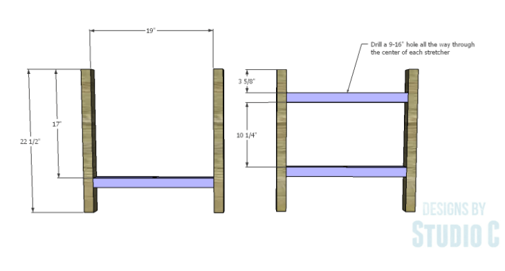 DIY Plans to Build a Cross-Leg End Table_Stretchers 1