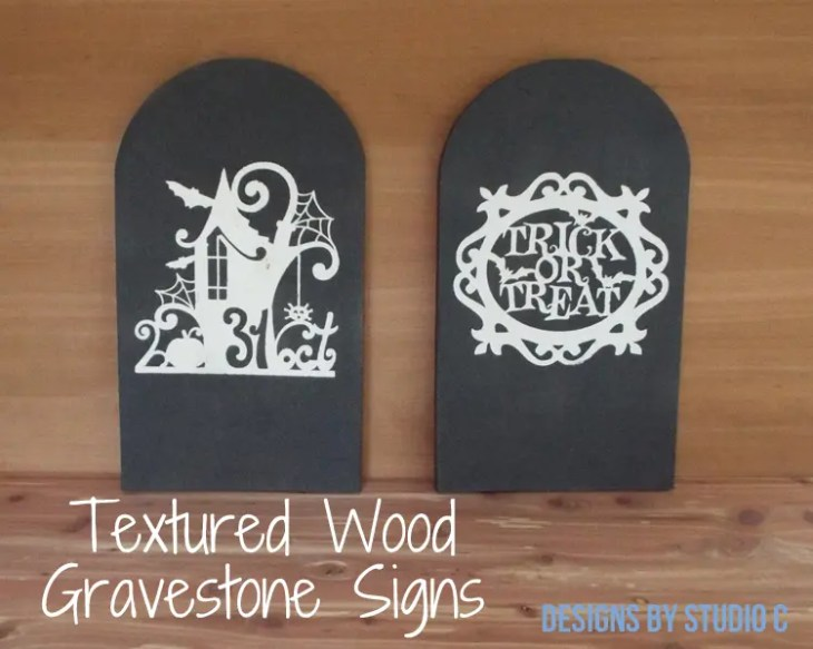DIY Textured Wood Gravestone Signs