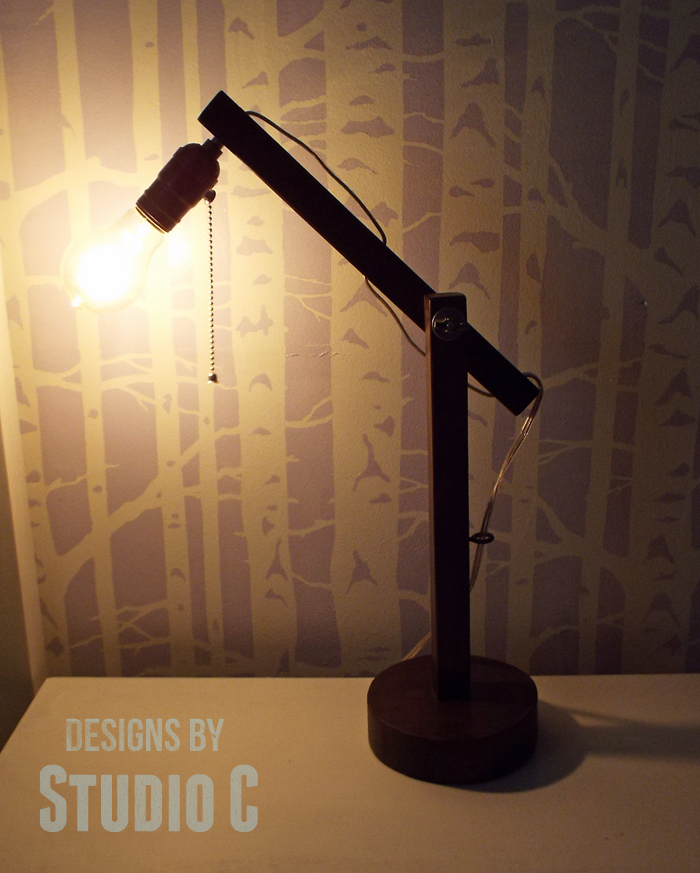 DIY Plans to Build a Rustic Cantilevered Desk Lamp-Bulb On
