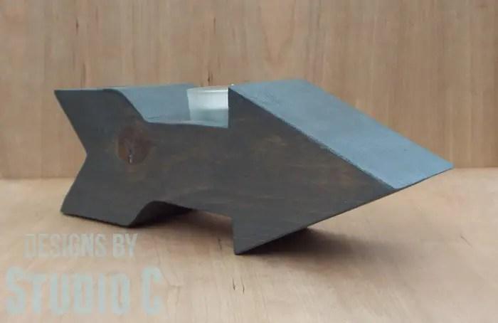 DIY Wood Arrow Candleholder-Angled View