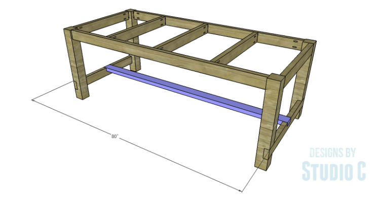 DIY Plans to Build an Easy Rustic Dining Table-Lower Stretcher