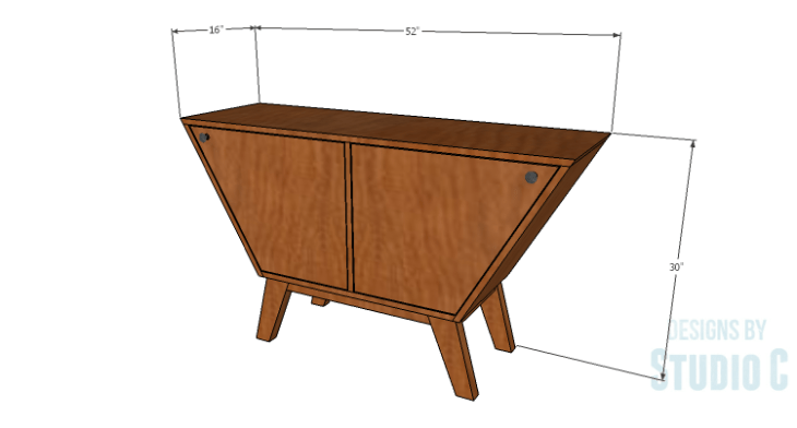 DIY Plans to Build a Mid Century Modern Angled Cabinet