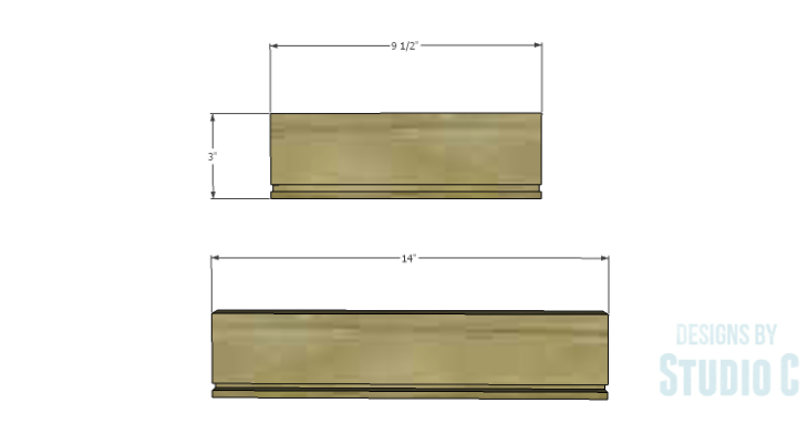 DIY Plans to Build an Open Shelf Desk-Outer Drawer 1