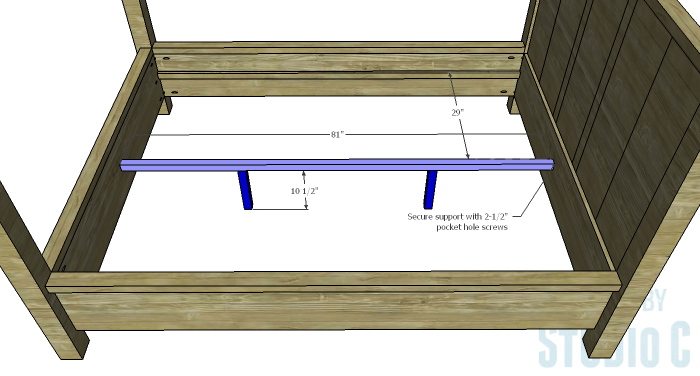 DIY Plans to Build a Waterton Queen Bed-Center Support