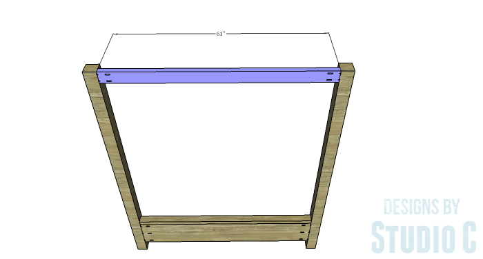 DIY Plans to Build a Waterton Queen Bed-Upper Footboard Canopy Stretcher
