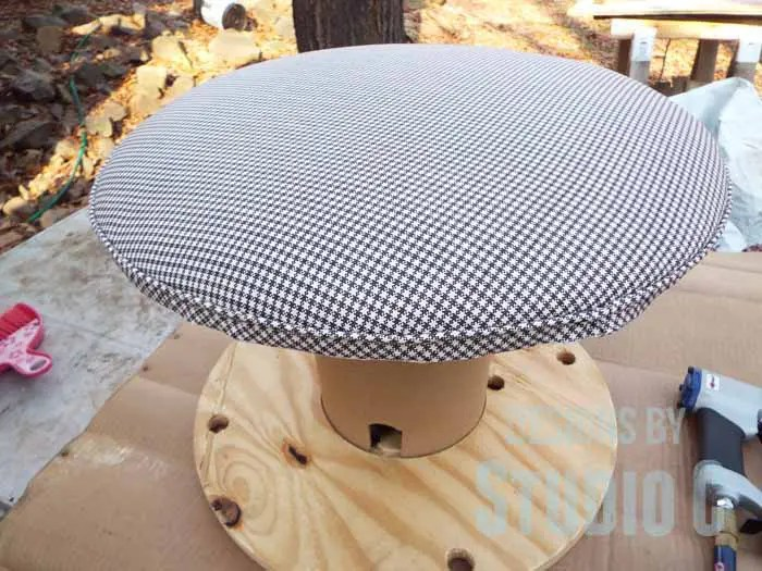 DIY Ottoman or Footstool Using an Old Wooden Spool_Welting Completed