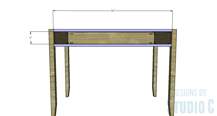 DIY Furniture Plans to Build a Mena Hutch Desk-Front Stretchers