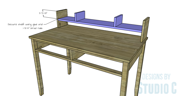 DIY Furniture Plans to Build a Mena Hutch Desk-Hutch Shelf 2