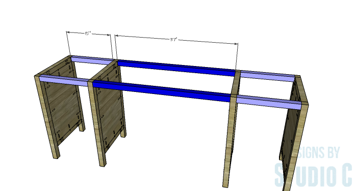 DIY Furniture Plans to Build a Tristan Media Stand-Upper Stretchers