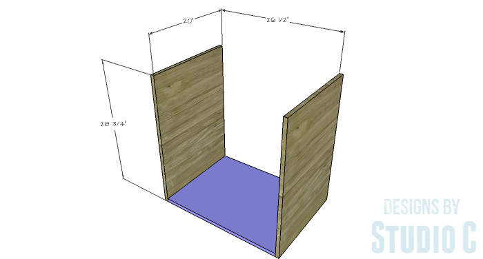 DIY Furniture Plans to Build a Swivel Top Media Cabinet-Sides & Bottom