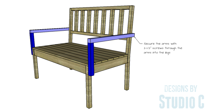 DIY Furniture Plans to Build a Maya Bench - Arms 2