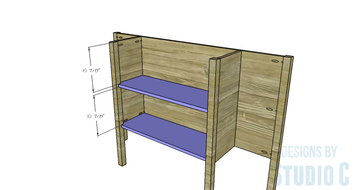 DIY Furniture Plans to Build a Demilune Console Table - Shelves 2