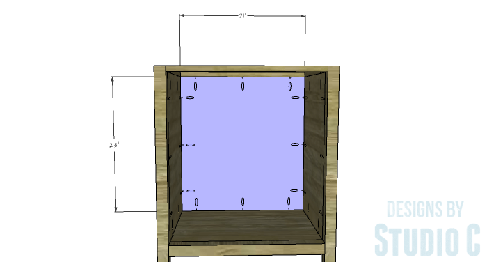 DIY Furniture Plans to Build a Diamond Single Door Cabinet - Back