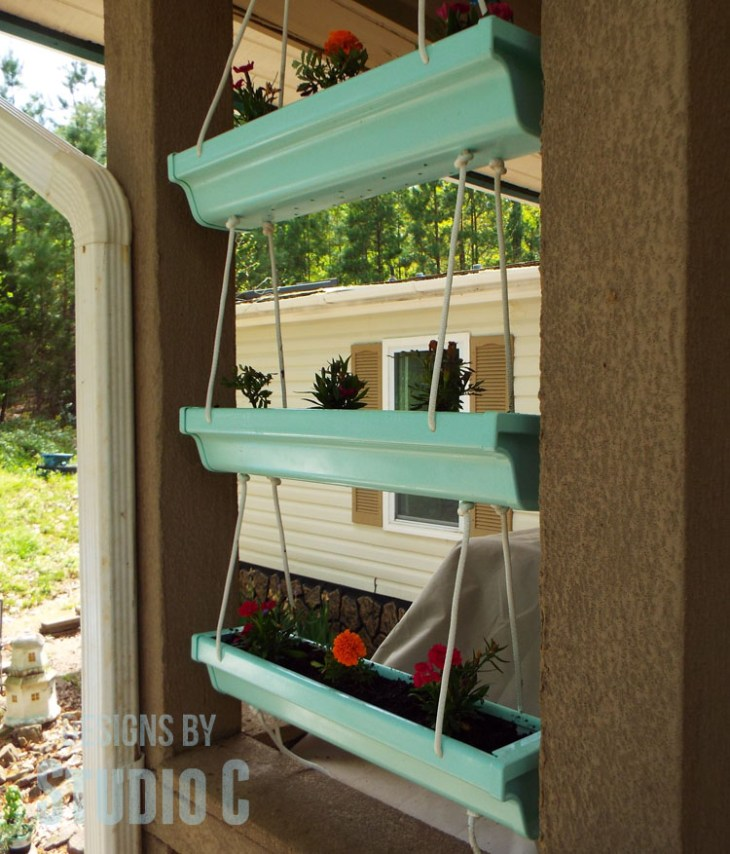 Home Depot Do It Herself Workshop Hanging Gutter Planter - Finished View