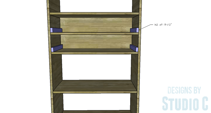 DIY Furniture Plans to Build an Open Bookcase with Drawers - Drawer Spacers