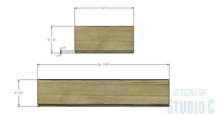 DIY Furniture Plans to Build an Open Bookcase with Drawers - Drawers 1