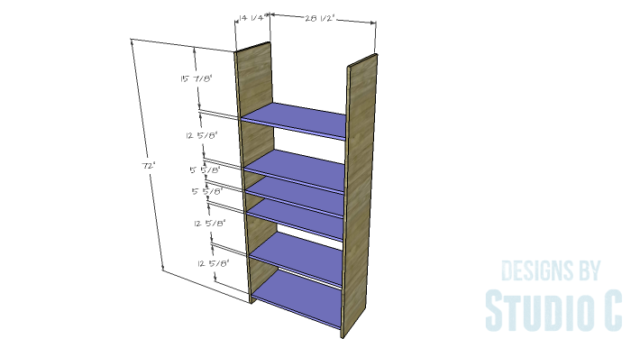 DIY Furniture Plans to Build an Open Bookcase with Drawers - Sides & Shelves