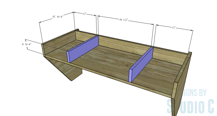 DIY Furniture Plans to Build a Wide Floating Desk - Dividers
